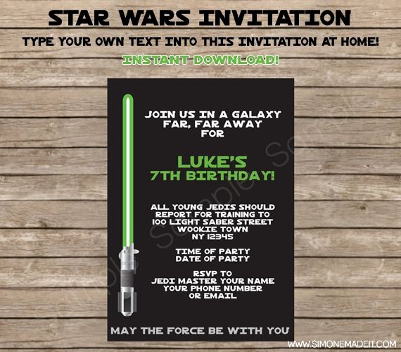 Free Star Wars Invitation Template New Star Wars Birthday Party Invitation and Printable Party