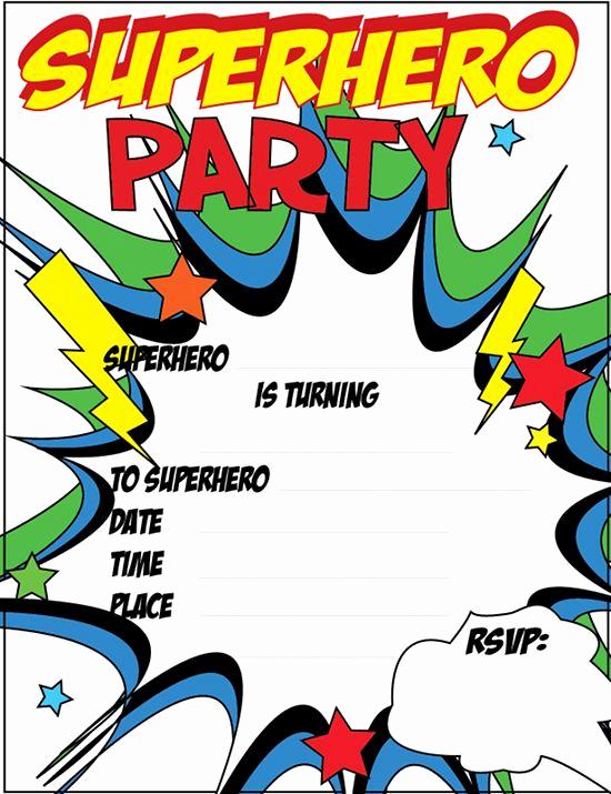 Free Superhero Invitation Template Fresh 12 Free Printable Blank Superhero Birthday Invitation