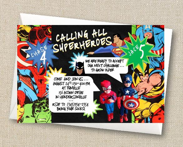 Free Superhero Invitation Template Lovely 21 Superhero Birthday Invitations Psd Vector Eps Ai