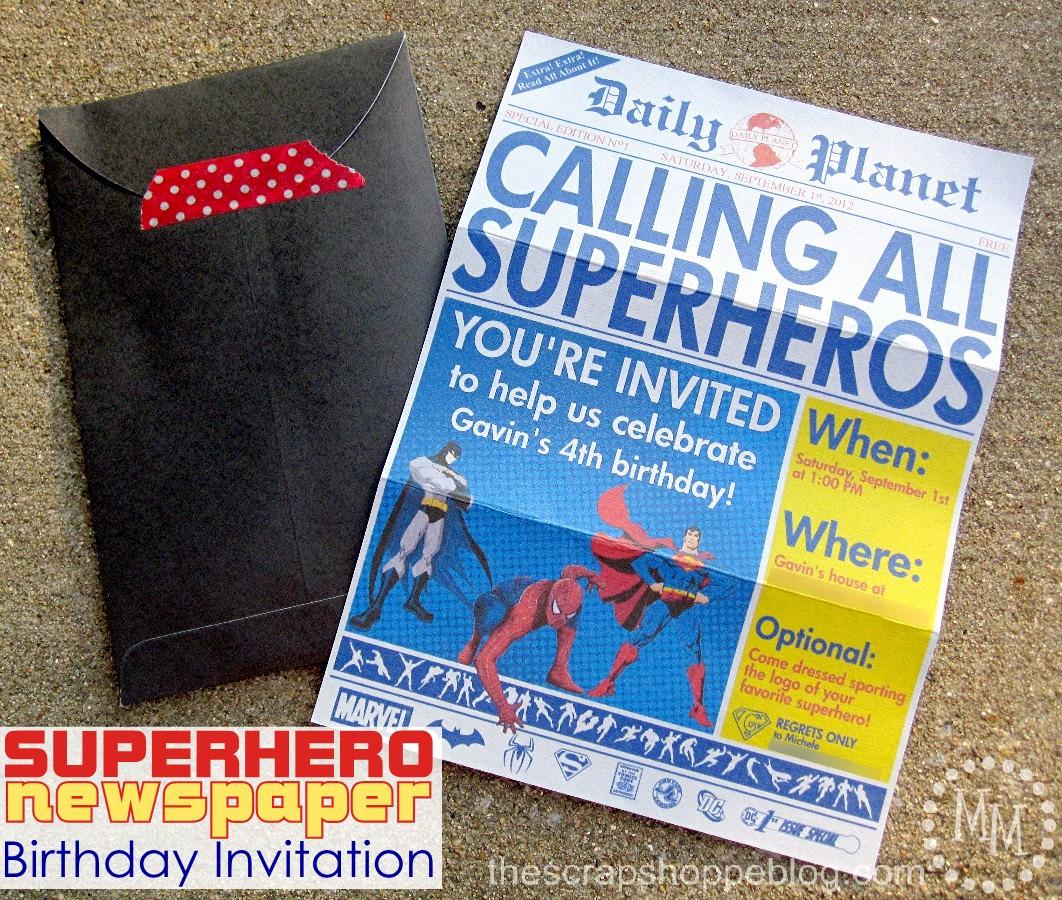 Free Superhero Invitation Template Luxury Superhero Newspaper Birthday Invitation the Scrap Shoppe