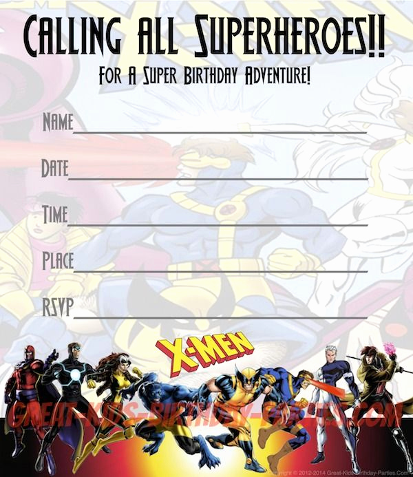 Free Superhero Invitation Templates Awesome Free X Men Party Invitations Print these Fun