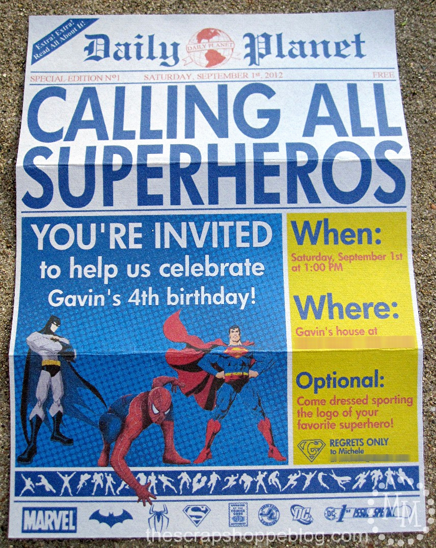 Free Superhero Invitation Templates Awesome Superhero Newspaper Birthday Invitation the Scrap Shoppe
