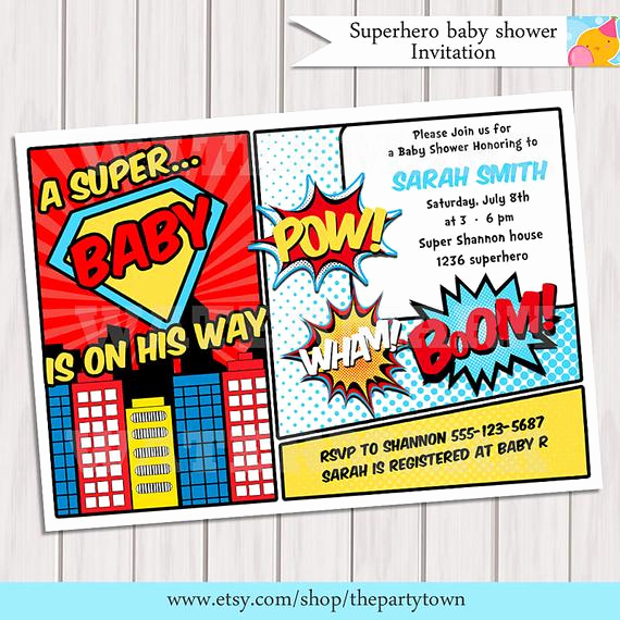 Free Superhero Invitation Templates Lovely Superhero Baby Shower Invitation Printable Invite Card