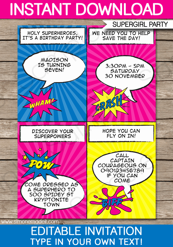 Free Superhero Invitation Templates Lovely Superhero Girl Party Invitations Template