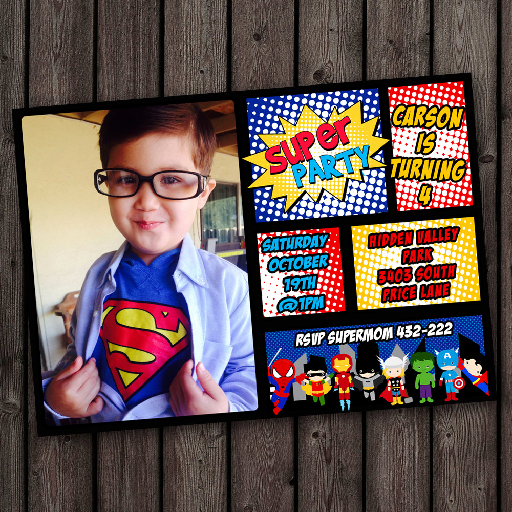 superhero invitations fast ship free