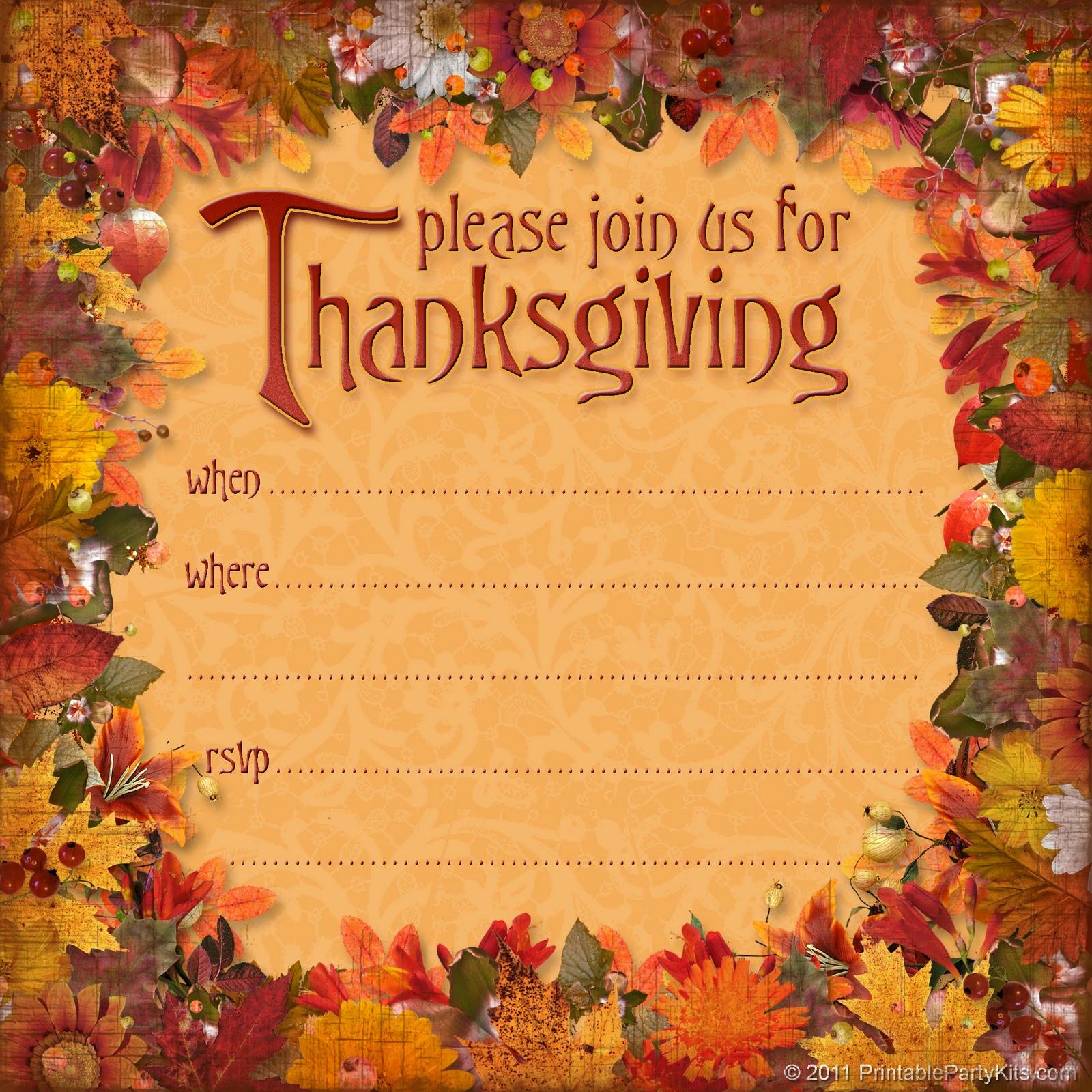 Free Thanksgiving Invitation Templates Fresh Free Printable Party Invitations Free Thanksgiving Dinner