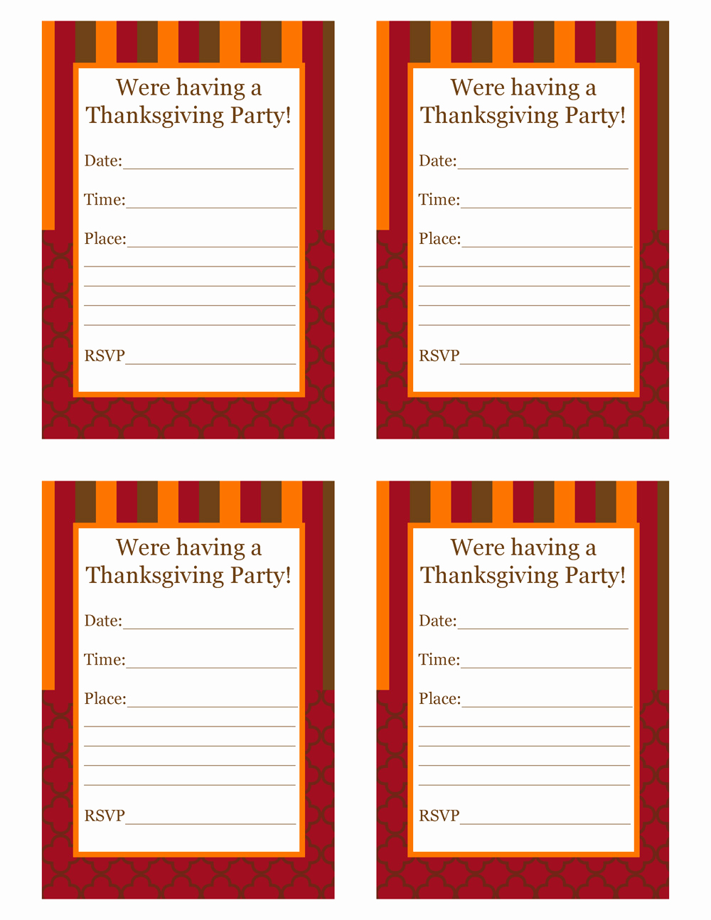 Free Thanksgiving Invitation Templates Inspirational Free Thanksgiving Party Printables From Cupcake Express