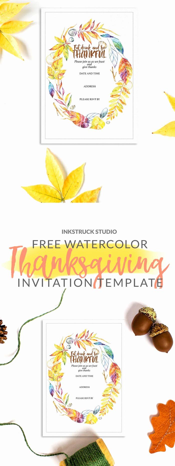 Free Thanksgiving Invitation Templates Luxury Free Watercolor Invitation Template for Thanksgiving