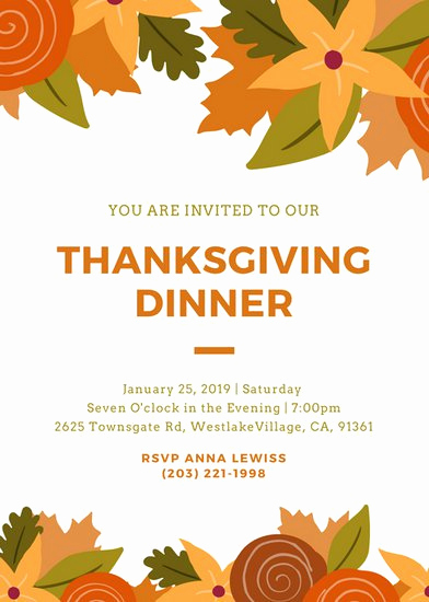 Free Thanksgiving Invitation Templates New Customize 108 Thanksgiving Invitation Templates Online