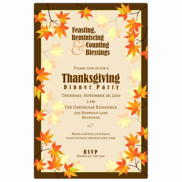 Free Thanksgiving Invitation Templates New Fall Leaves Thanksgiving Invitations
