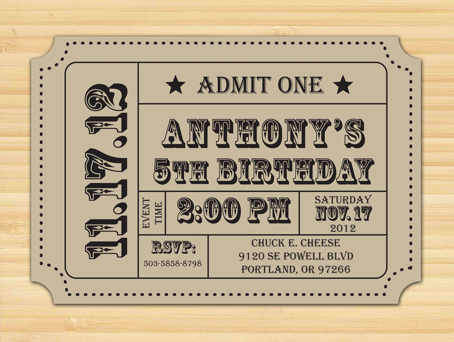 Free Ticket Invitation Template Awesome Free Printable Ticket Stub Invitation