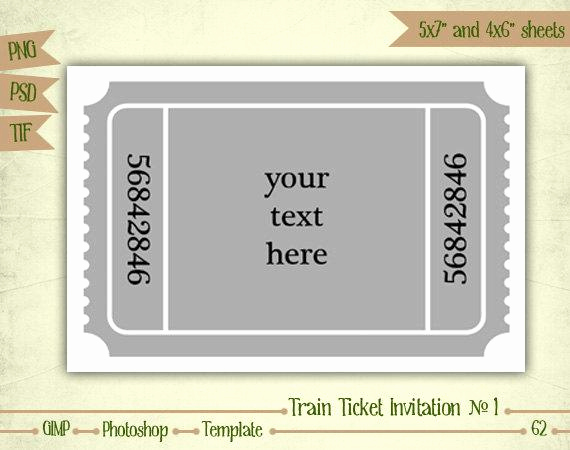 Free Ticket Invitation Template Awesome Train Ticket Invitation N1 Digital Collage Sheet by