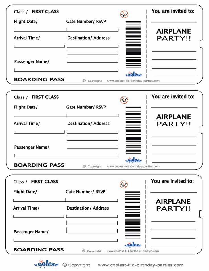 Free Ticket Invitation Template Best Of Printable Airplane Boarding Pass Invitations Coolest