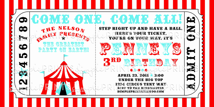 Free Ticket Invitation Template Inspirational Circus Tent Ticket Printable Invitation Dimple Prints Shop