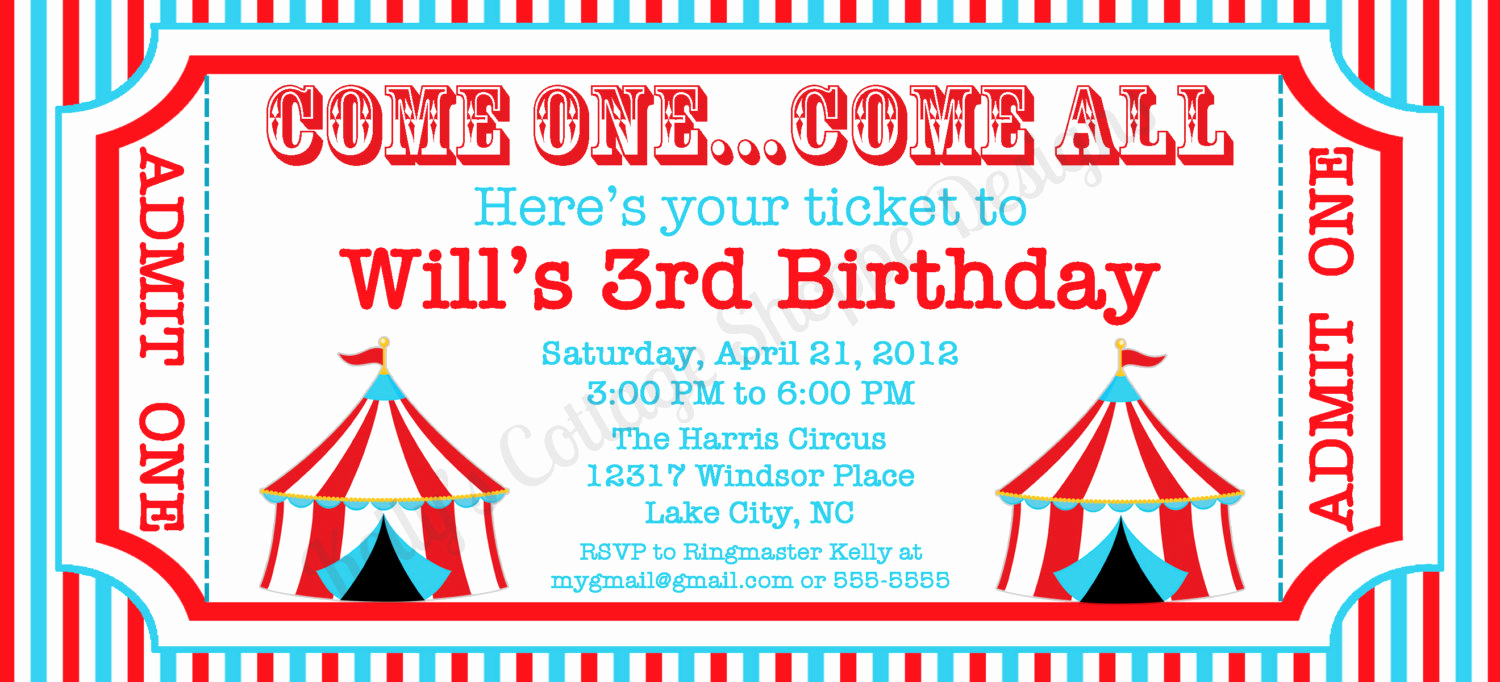 Free Ticket Invitation Template Luxury Circus Ticket Invitation Custom Printable by