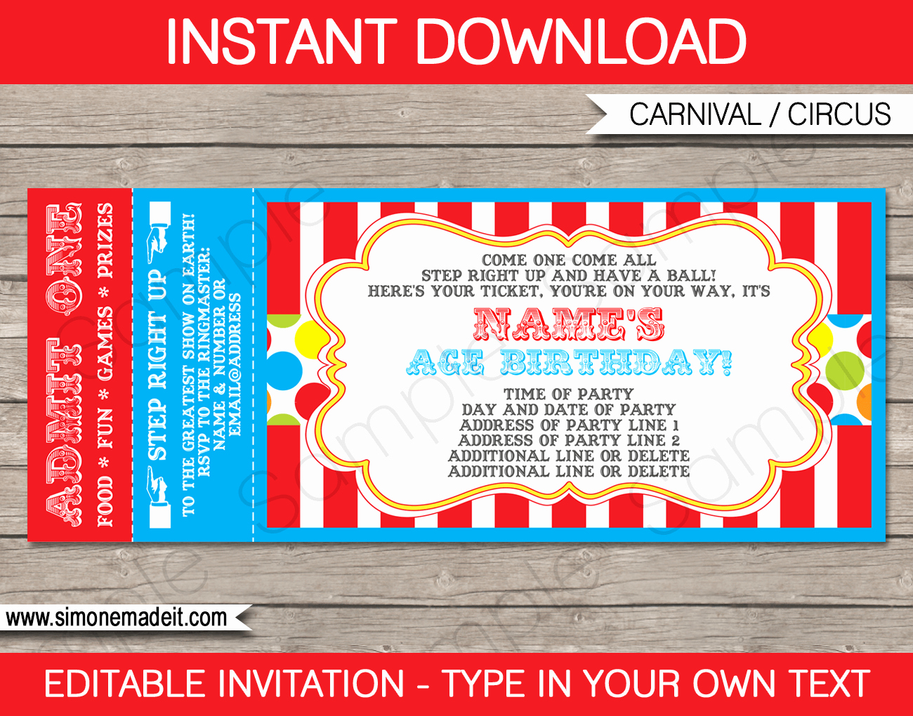 Free Ticket Invitation Template New Carnival Ticket Invitation Template