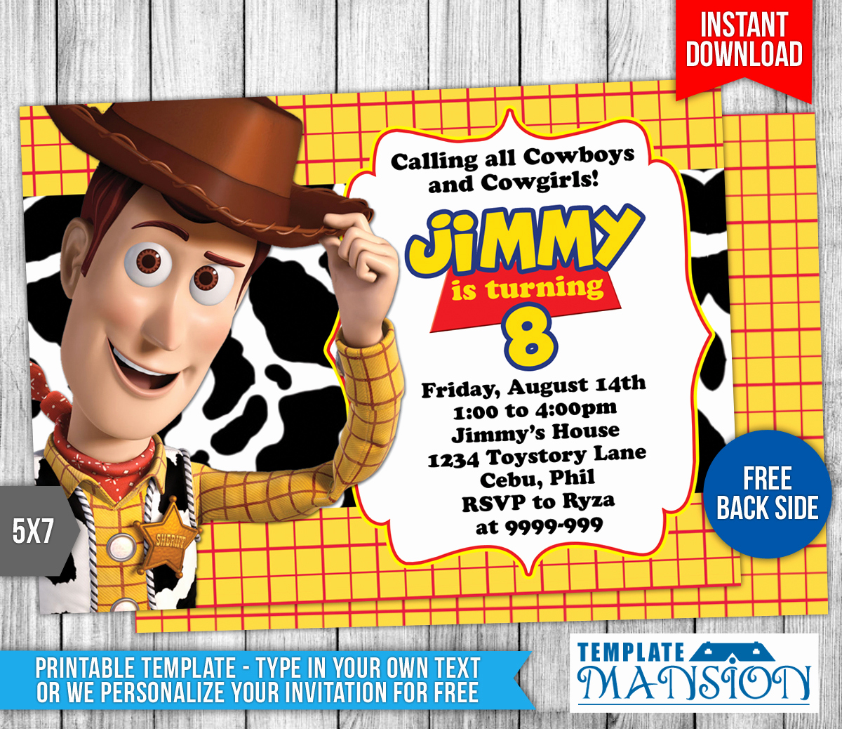 Free toy Story Invitation Template Beautiful Woody toys Story Birthday Invitation by Templatemansion On
