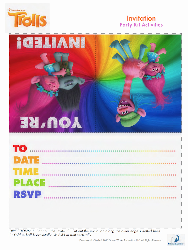 Free Trolls Invitation Template Awesome Trolls Party Birthday Stuff