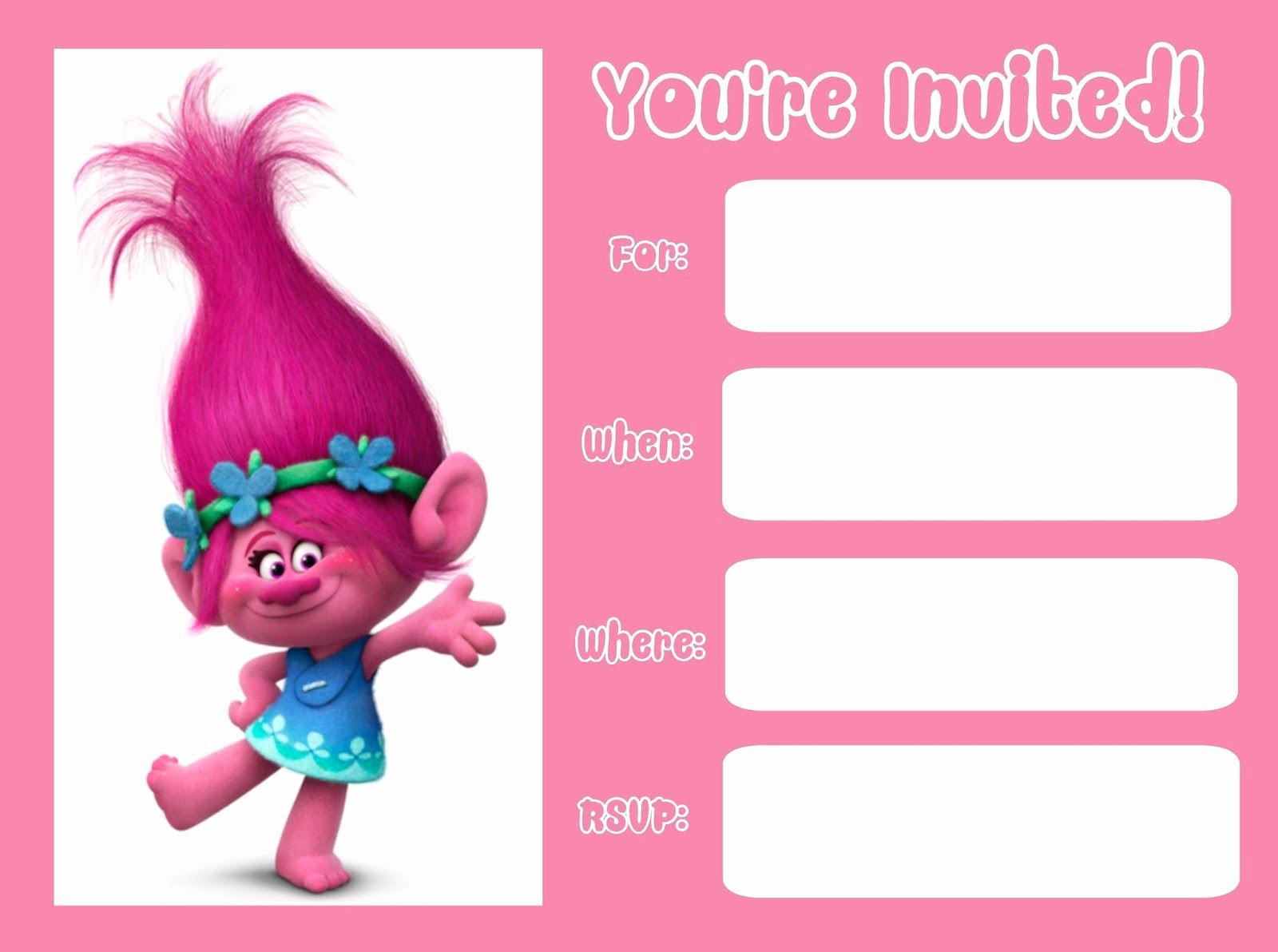 Free Trolls Invitation Template Best Of Trolls Movie 2016 Invitations