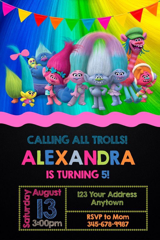 Free Trolls Invitation Template Elegant Trolls Birthday Party Invitations Personalized You Print