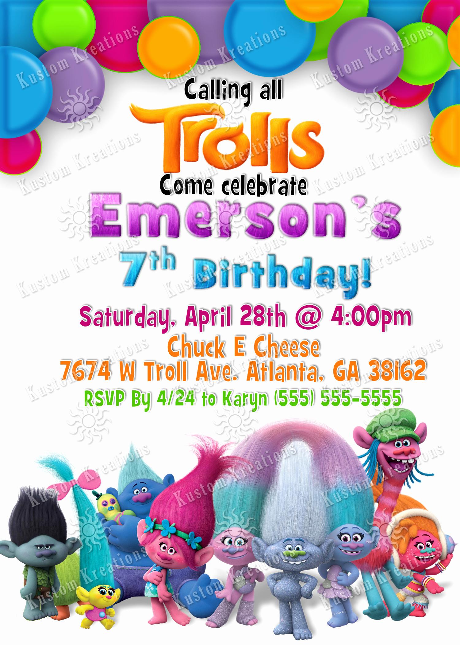 Free Trolls Invitation Template Inspirational Trolls Birthday Invitations