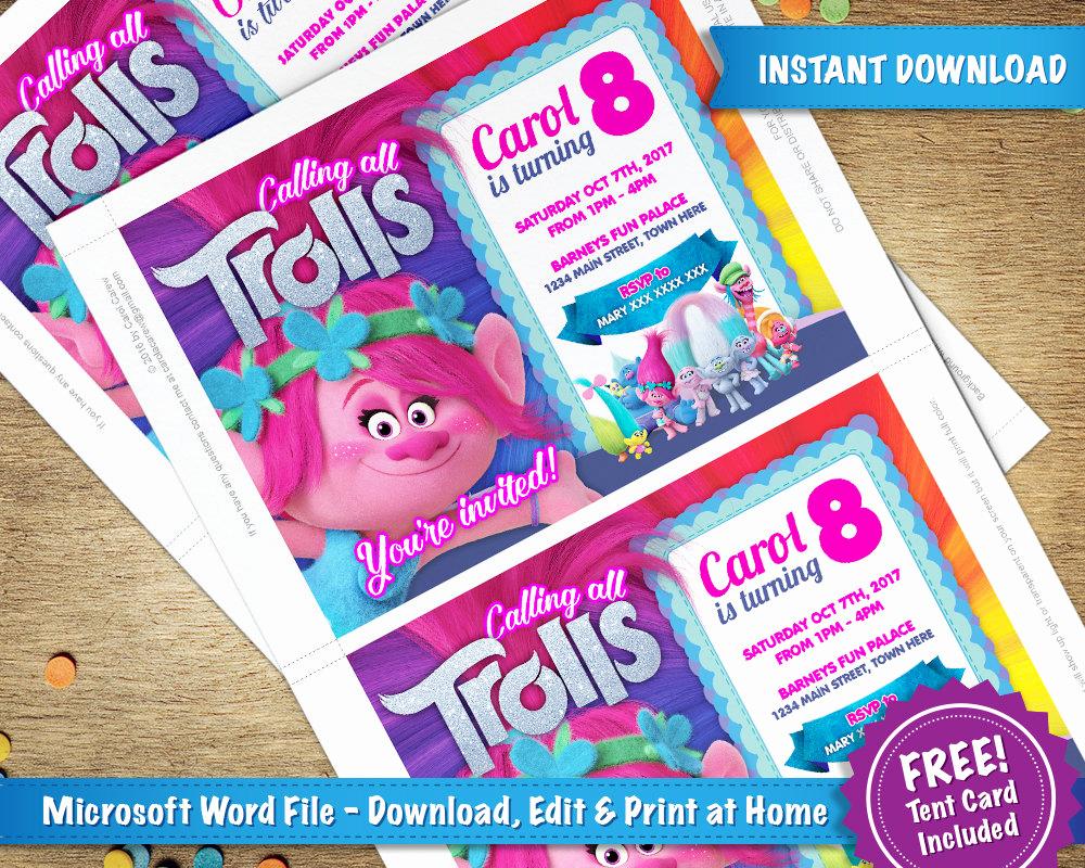 Free Trolls Invitation Template Lovely Diy Printable 5x7 Trolls Poppy Birthday Party Invitation