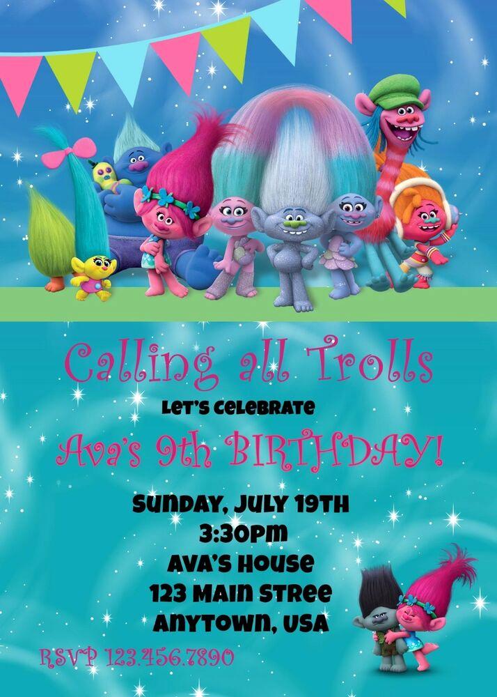 Free Trolls Invitation Template Luxury Trolls Birthday Invitation Invitations Birthday Trolls