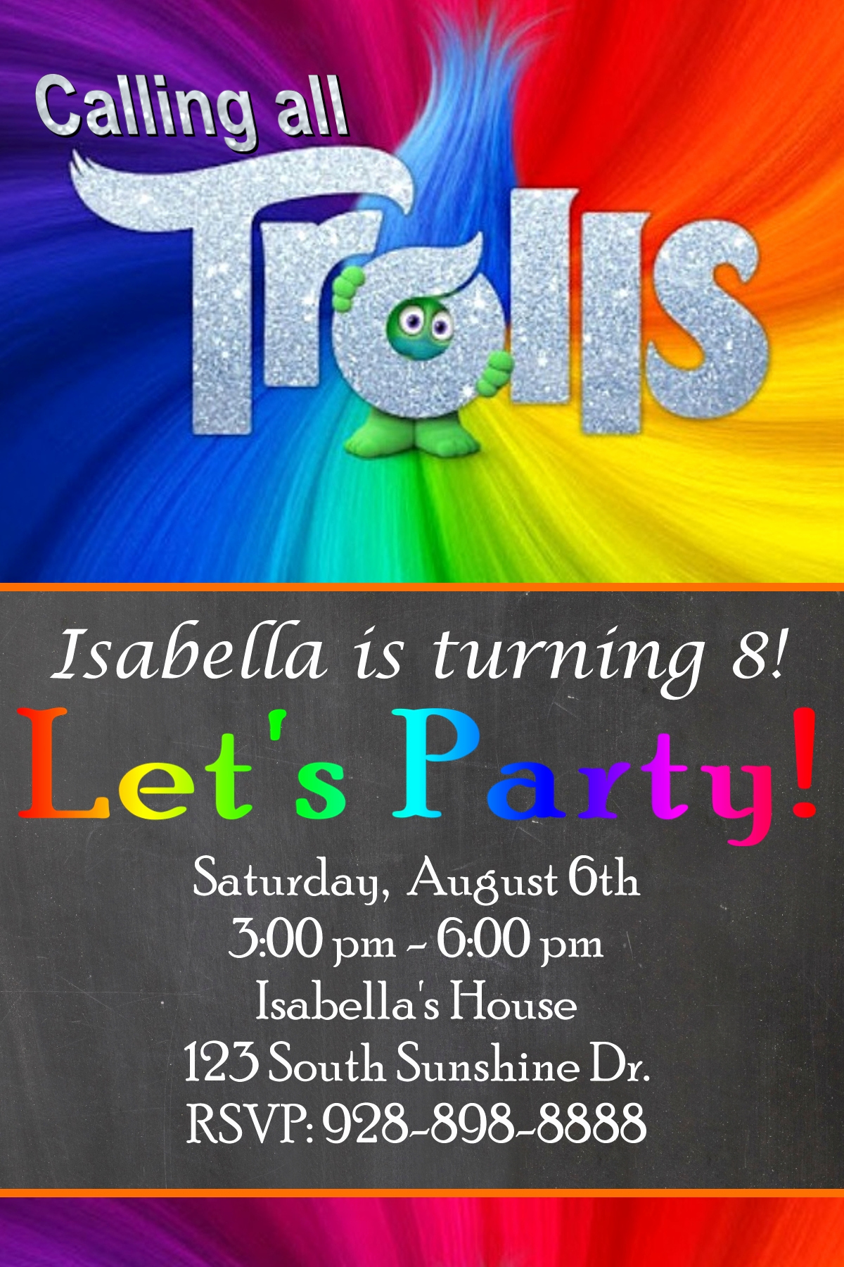 Free Trolls Invitation Template New Free Trolls Birthday Party Invitation Printables
