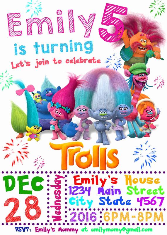 Free Trolls Invitation Template New Trolls Birthday Invitation Trolls Invitation Trolls