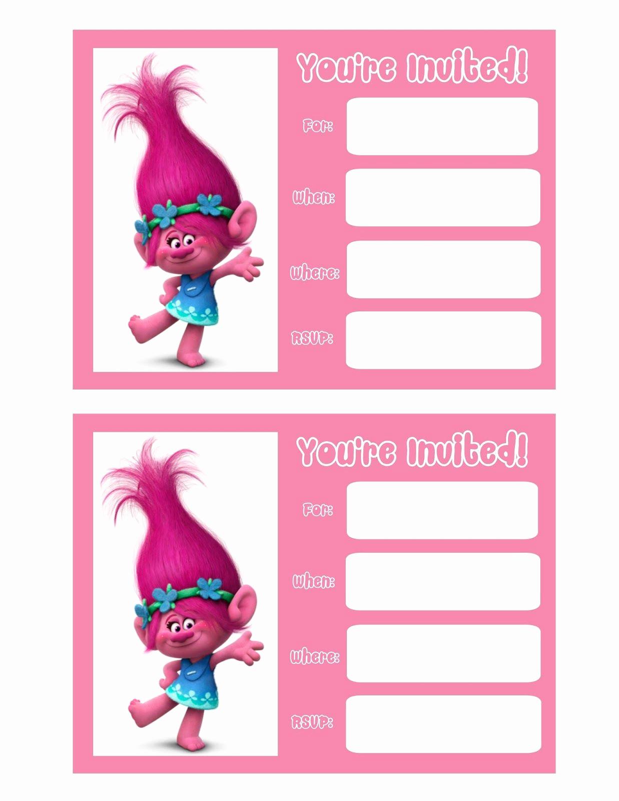 Free Trolls Invitation Template New Trolls Movie Invitations Bella S Birthday
