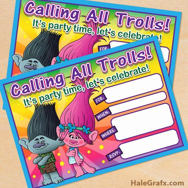 Free Trolls Invitation Template Unique Free Printable Trolls Movie Birthday Party Invitation