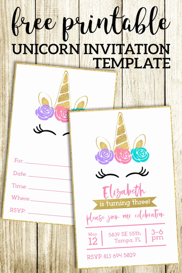 Free Unicorn Invitation Template Awesome Free Printable Unicorn Invitations Template