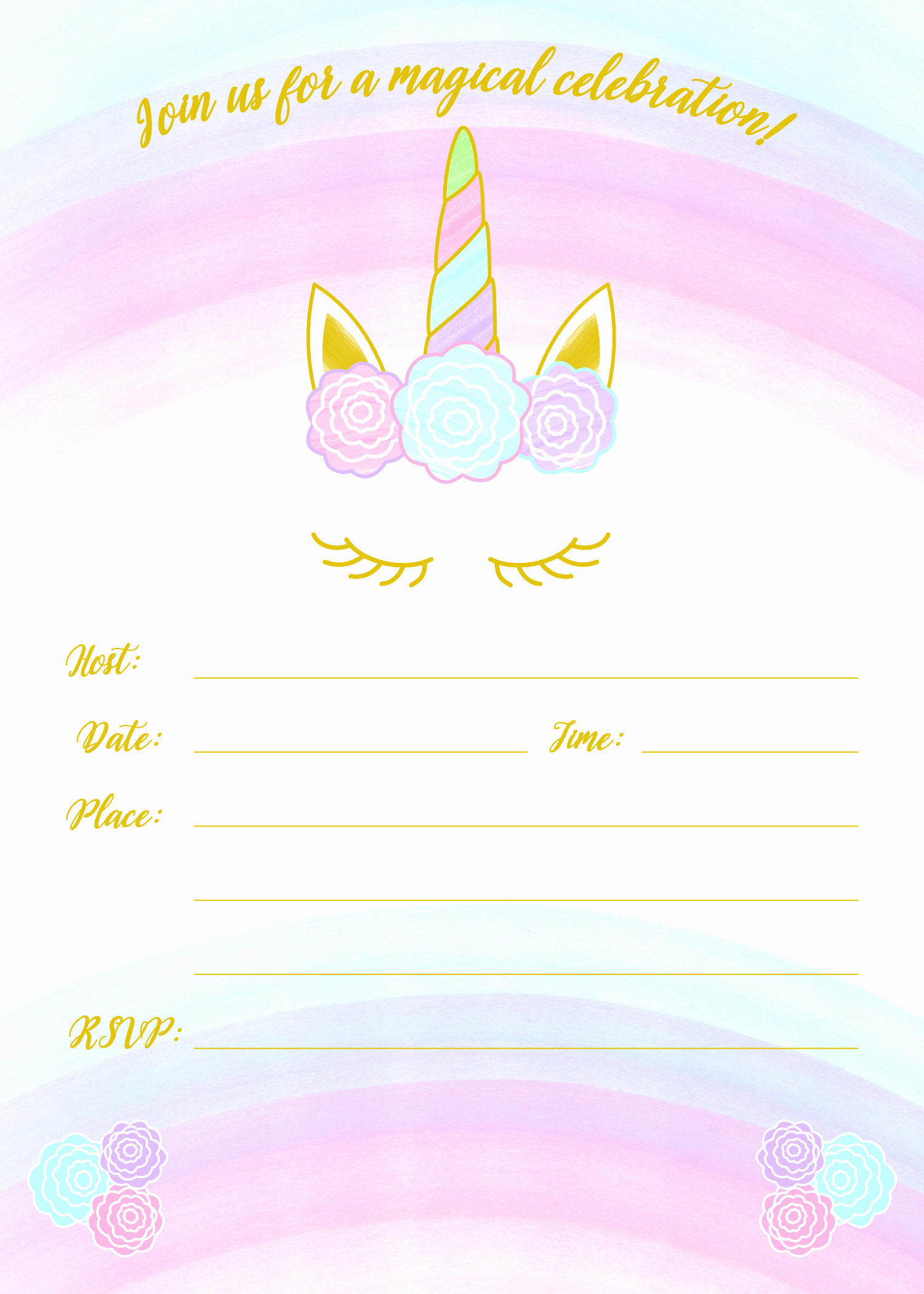 Free Unicorn Invitation Template Inspirational Unicorn Invitation Free Printable Templates Easy to