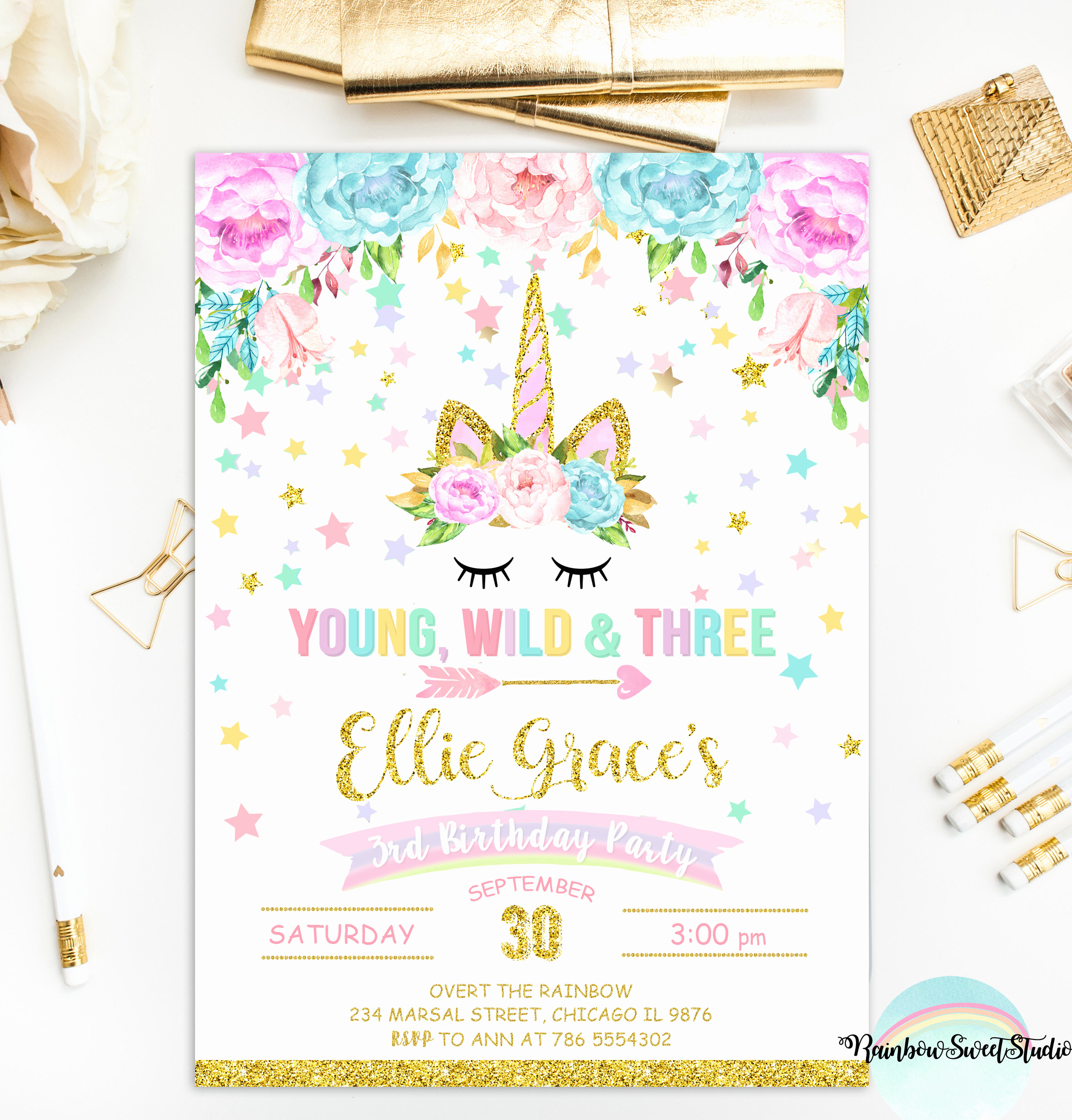 Free Unicorn Invitation Template Lovely Unicorn Young Wild and Three Invitation Unicorn Birthday
