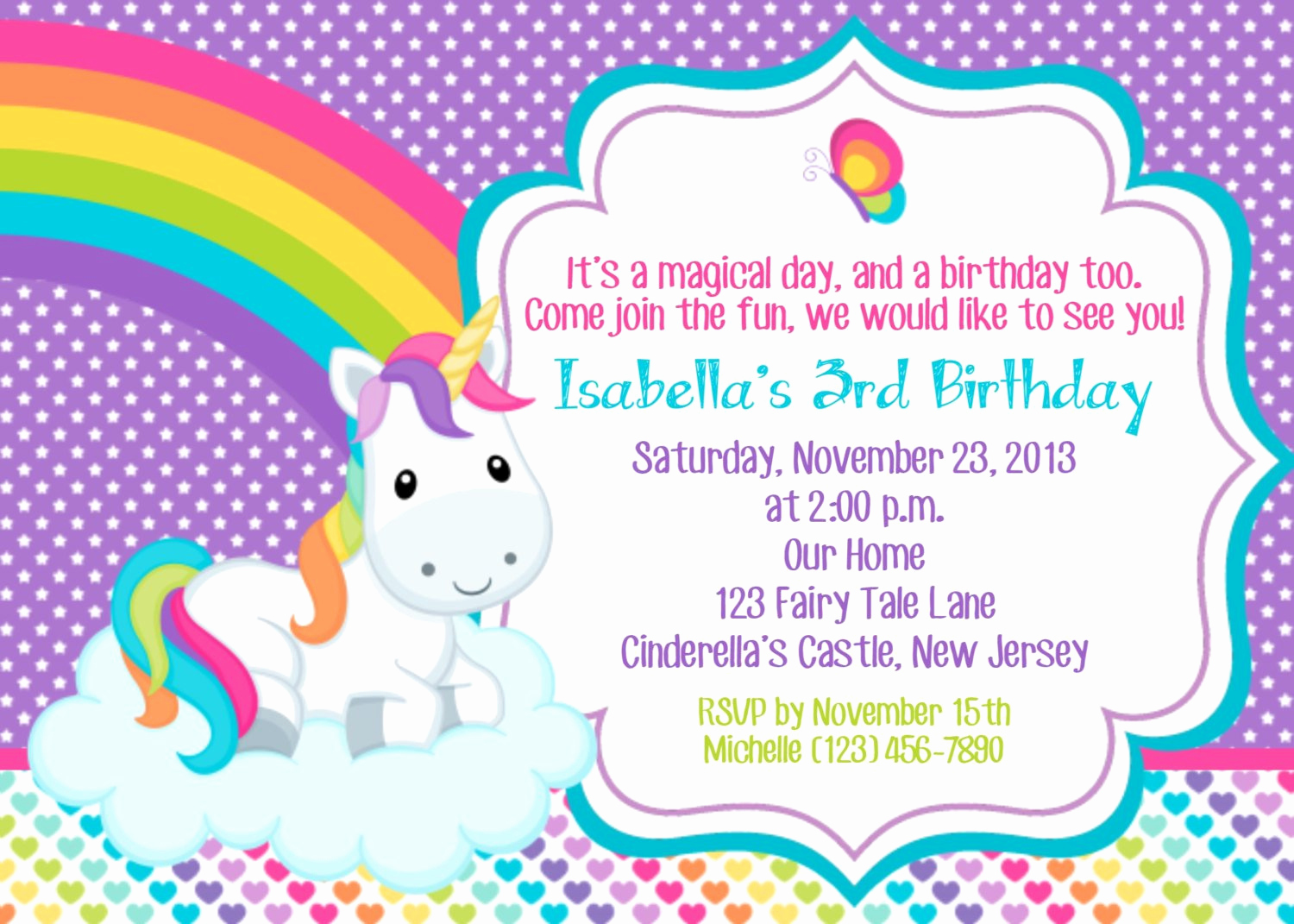 Free Unicorn Invitation Template Luxury Rainbow and Unicorn Party Invitation