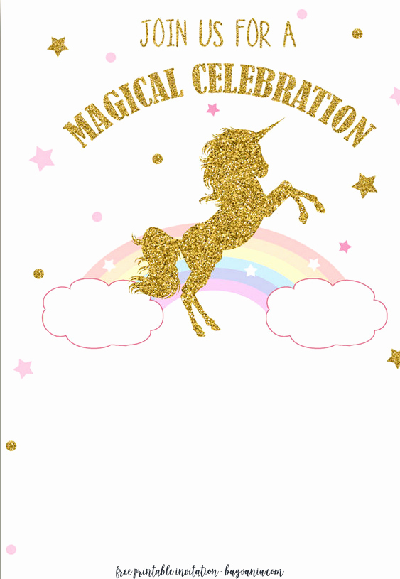 Free Unicorn Invitation Template Unique Free Printable Golden Unicorn Birthday Invitation Template