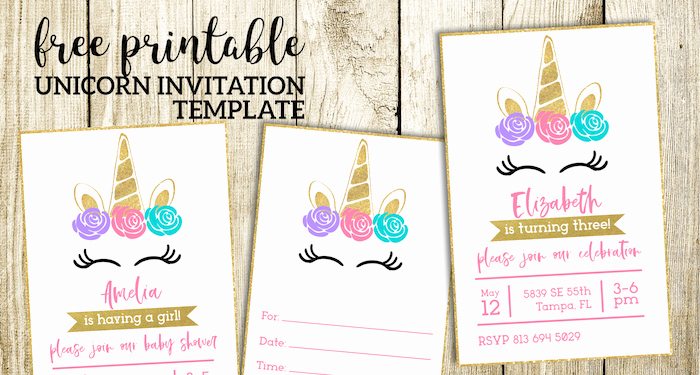 Free Unicorn Invitation Template Unique Free Printable Unicorn Invitations Template Paper Trail