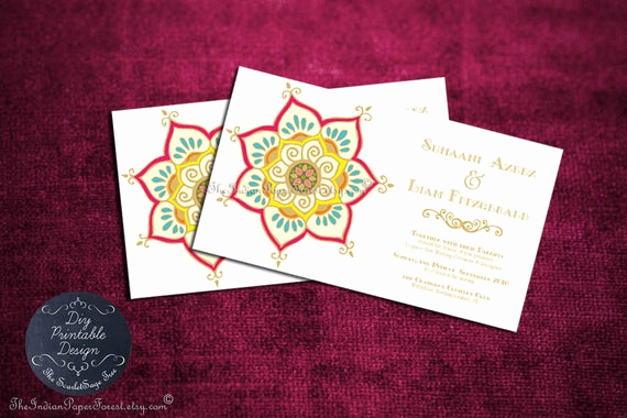 Free Vietnamese Wedding Invitation Template Fresh Printable Indian Wedding Invitation by theindianpaperforest