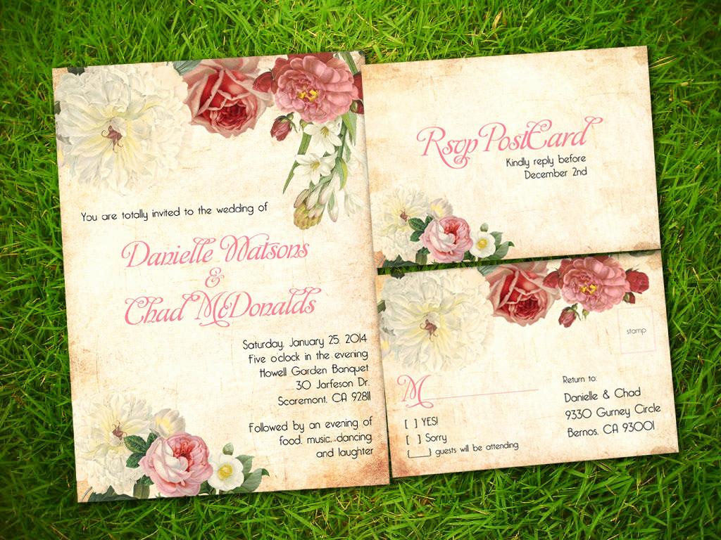 Free Vintage Wedding Invitation Templates Elegant Etsy Template1