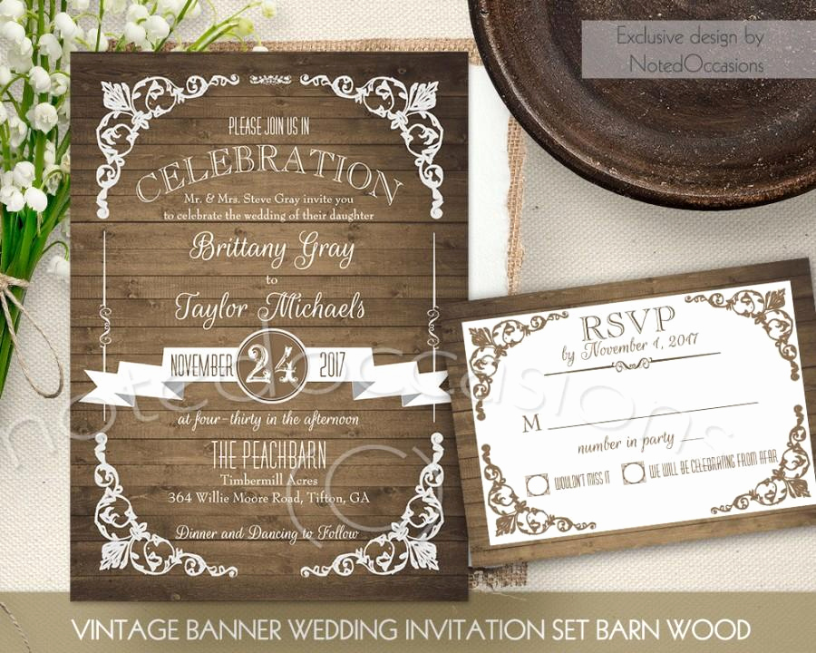 Free Vintage Wedding Invitation Templates Inspirational Rustic Wedding Invitation Printable Set Country Wedding