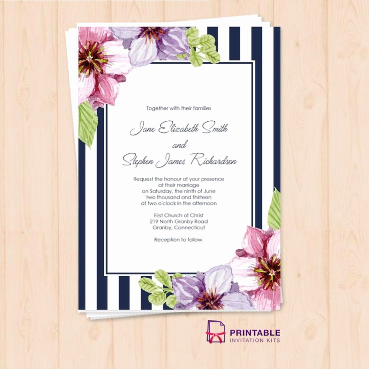 Free Vintage Wedding Invitation Templates Lovely Free Pdf Download Retro Stripes Floral Wedding Invitation