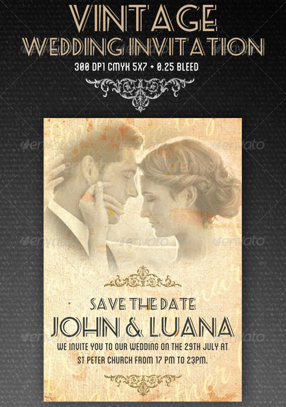 Free Vintage Wedding Invitation Templates Luxury 24 Vintage Wedding Invitation Templates Psd Ai