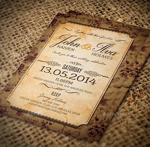 Free Vintage Wedding Invitation Templates New 23 Vintage Wedding Invitation Free Psd format Download