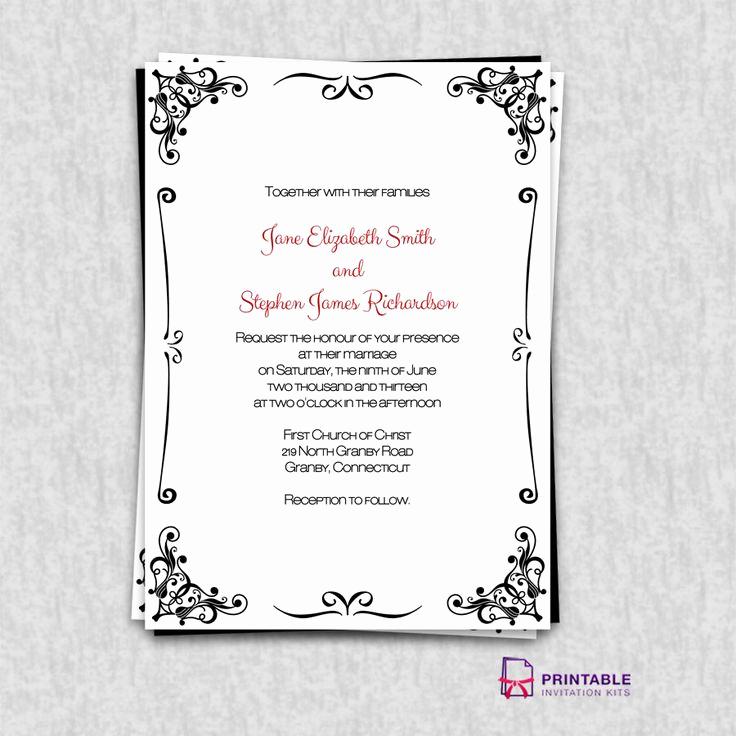 Free Vintage Wedding Invitation Templates Unique Free Pdf Invitations Retro Border Wedding Invitation