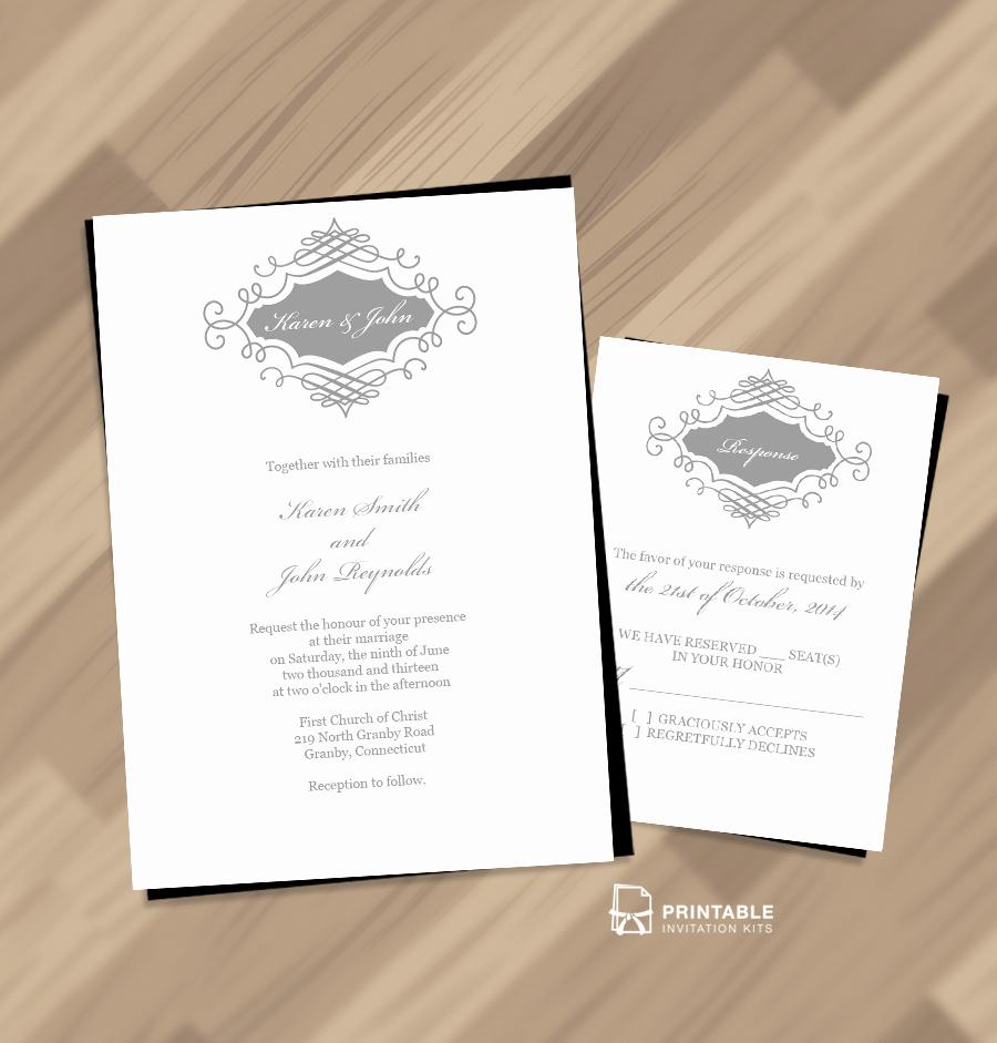 Free Wedding Invitation Printable Templates Beautiful Beautiful Wedding Monogram Free Invitation and Rsvp