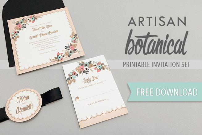 Free Wedding Invitation Printable Templates Lovely Artisan Botanical Free Printable Wedding Invitation