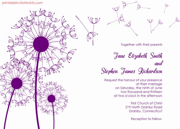 Free Wedding Invitation Printable Templates Lovely Dandelions Country Wedding Invitation Template ← Wedding