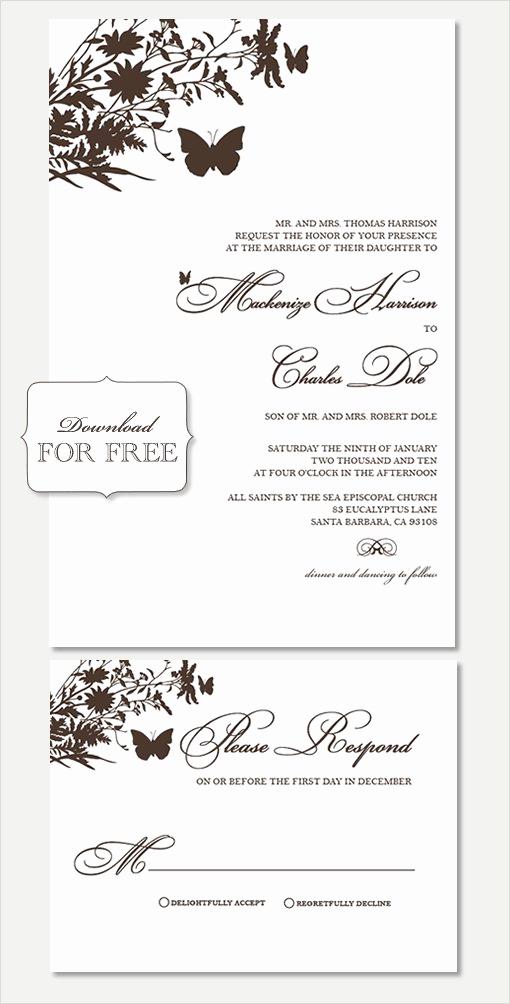 Free Wedding Invitation Printable Templates Unique Free Printable Wedding Invitation Templates