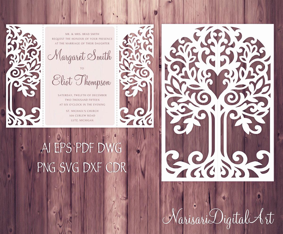 Free Wedding Invitation Svg Files Beautiful Love Tree Wedding Invitation Laser Cut Pattern Card