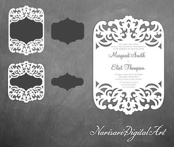 Free Wedding Invitation Svg Files Elegant 5x7 Laser Cut Wedding Invitation Frame Pattern Card